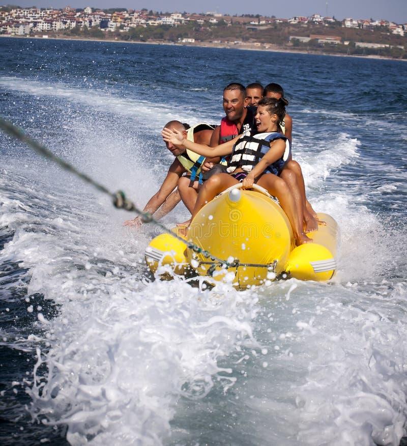 Banana-Extreme water sports. stock image