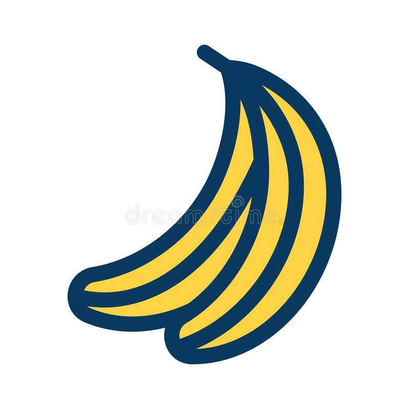 Banana filled outline icon, line vector sign, linear colorful pictogram isolated on white. Fruit Illustration vector illustration