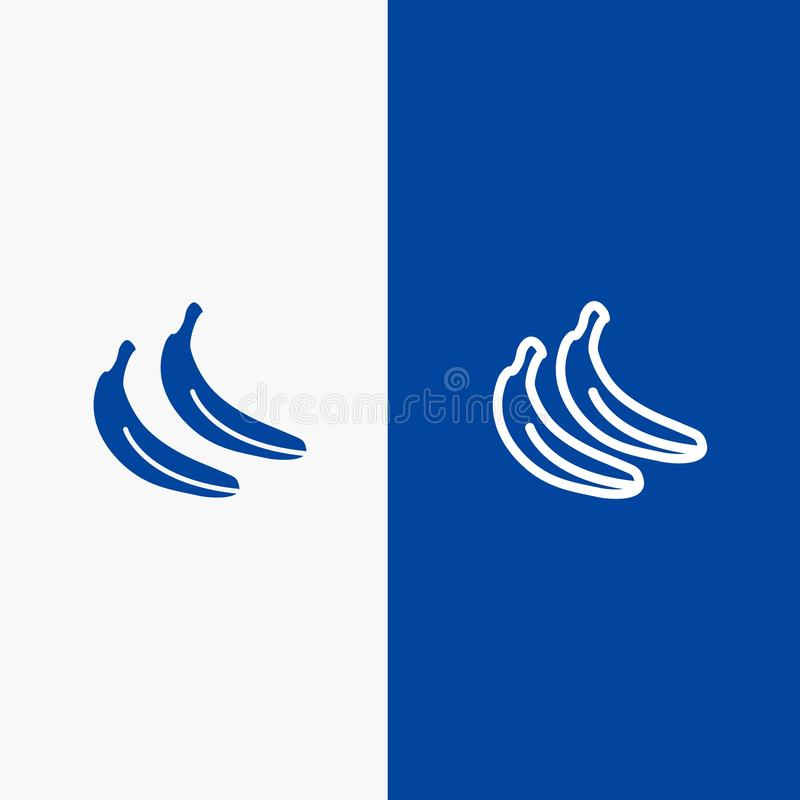 Banana, Food, Fruit Line and Glyph Solid icon Blue banner Line and Glyph Solid icon Blue banner royalty free illustration