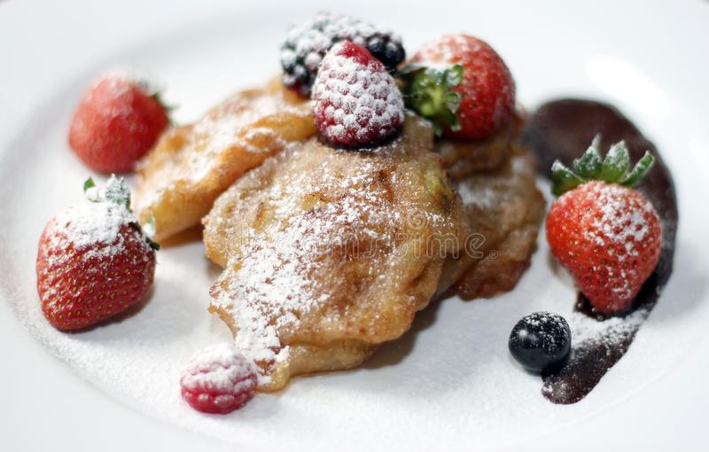 Banana Fried Pancake with Fruits royalty free stock photos