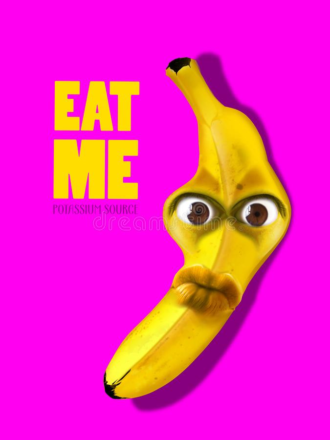 Banana fruit with fun face. Abstract concept of healthy food campaign stock illustration
