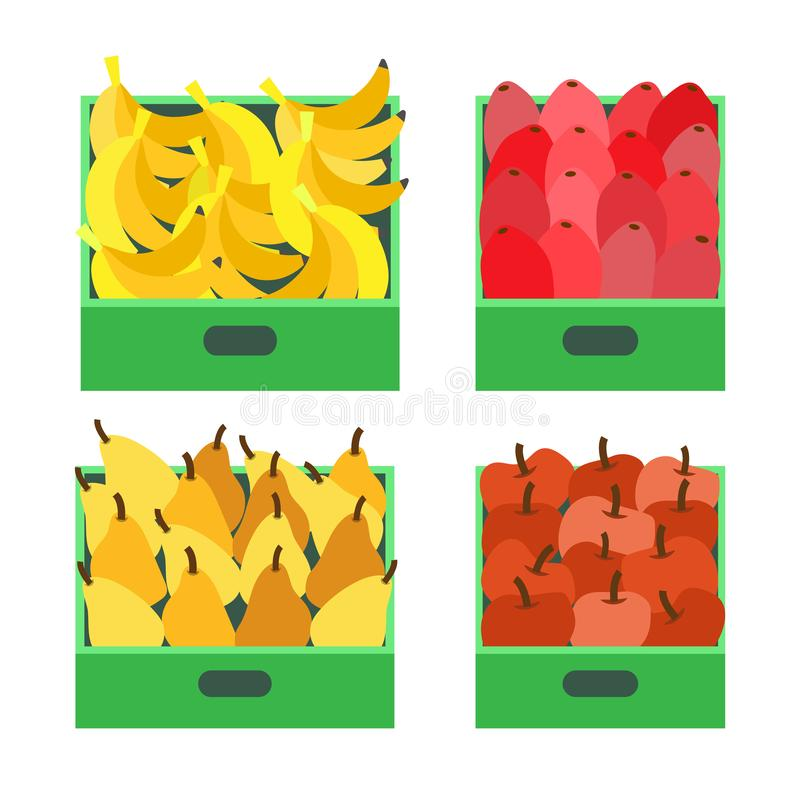 Banana Fruit Tropical Food Ripe Apples Set Vector. Pears and beetroots in containers ready for transportation. Fresh organic meal rich in vitamins stock illustration