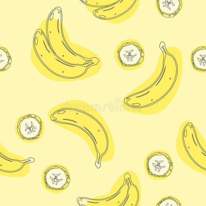 Banana geometric seamless. Wrapping paper, gift card, poster, banner design. Home decor, modern textile print. Vector illustration.  royalty free illustration