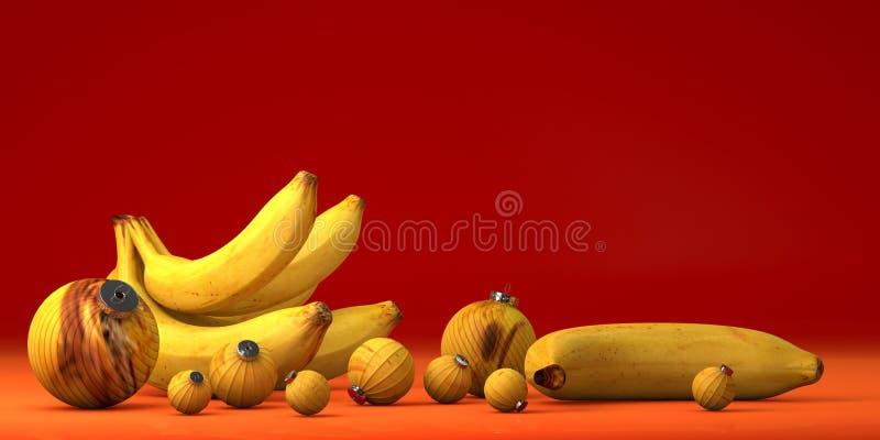 Banana gialla con la decorazione del giocattolo immagini stock libere da diritti