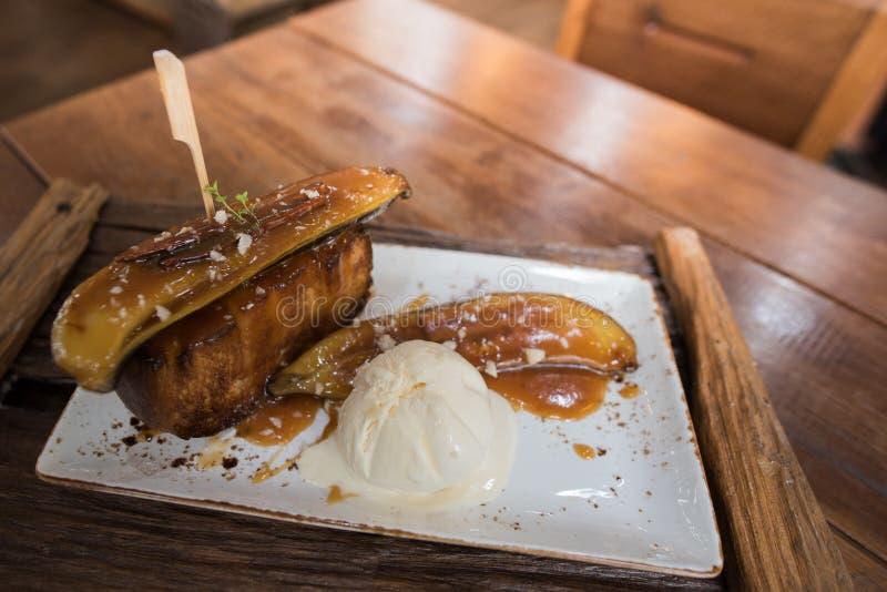 Banana honey toast dessert royalty free stock image