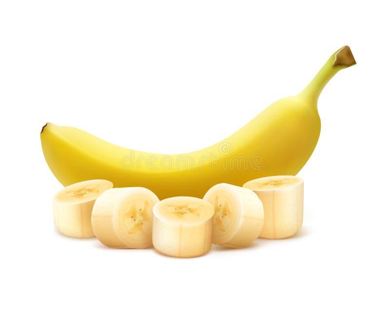 Banana inteira e desbastada ilustração do vetor