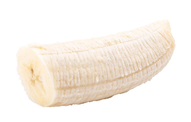 Banana isolated on white background. Clipping path. Banana isolated on white background, object, fruit, food, shadow, peeled, breakfast, nutritious, vegetable royalty free stock photography
