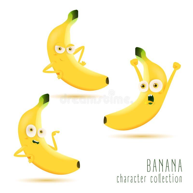 banana Jogo de caracteres bonito do vetor do fruto isolado no fundo branco ilustração stock