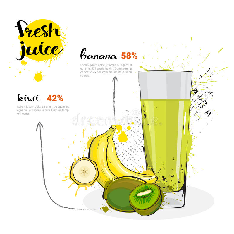 Banana Kiwi Mix Cocktail Of Fresh Juice Hand Drawn Watercolor Fruits e vidro no fundo branco ilustração stock