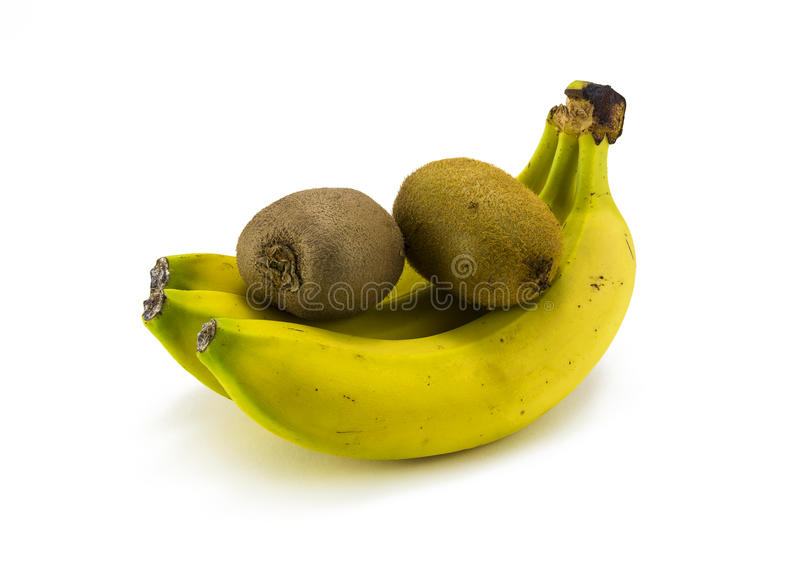 The banana and kiwi on a white background stock photography