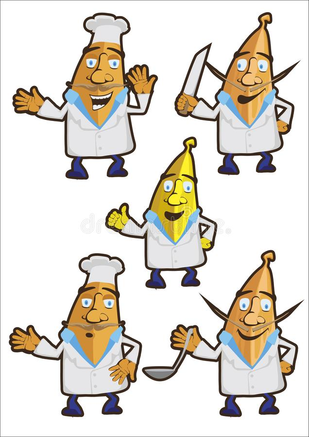 Banana kucharz, set charaktery royalty ilustracja