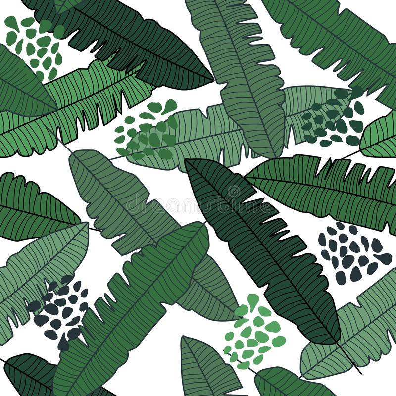 Banana leaf seamless pattern on white background. Jungle plant wallpaper stock illustration