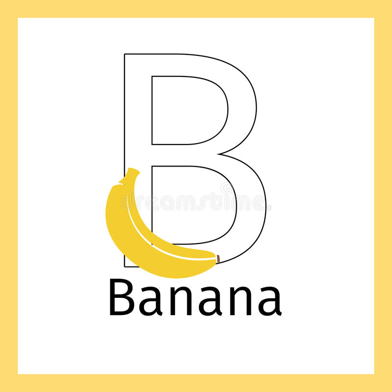 Download Banana And Letter B Coloring Page Stock Vector