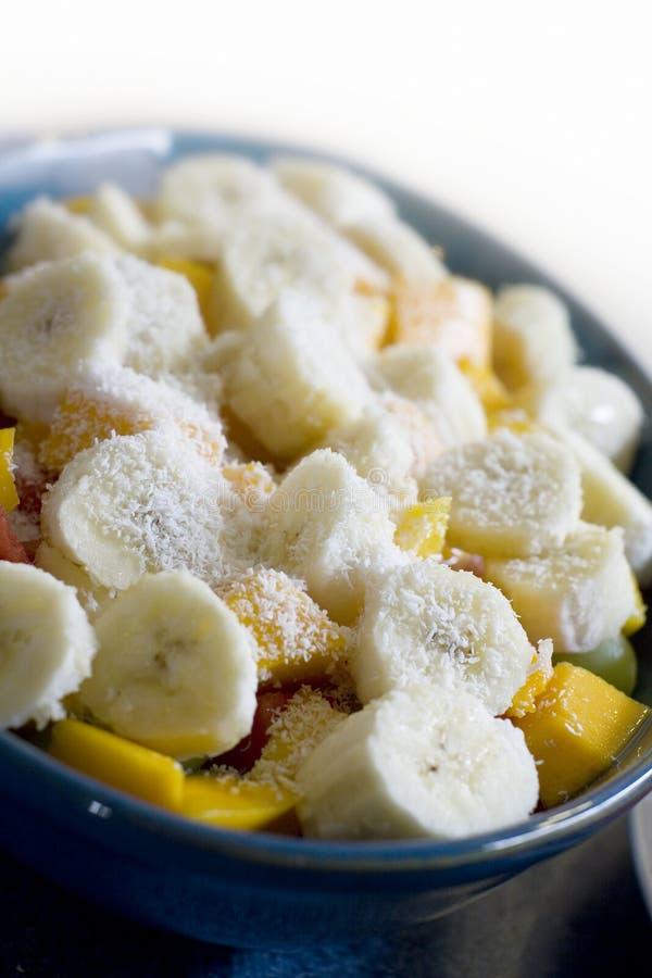 Banana and mango fruit salad stock image