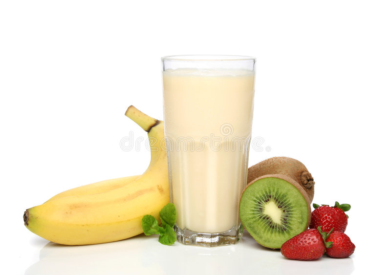 Banana milkshake with fruits royalty free stock photos