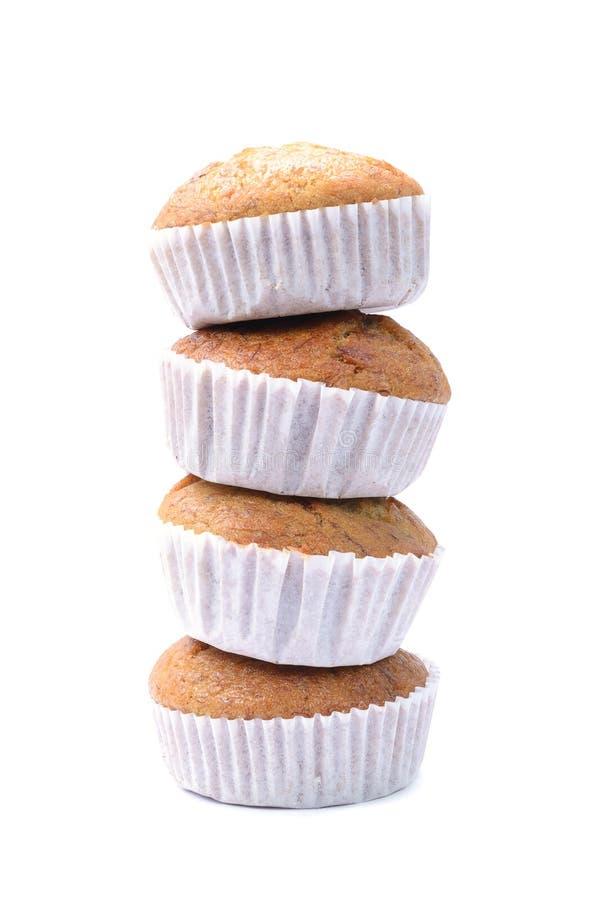 Banana muffin cake, isolated on white background. Pile of banana muffin cake, isolated on white background stock photos