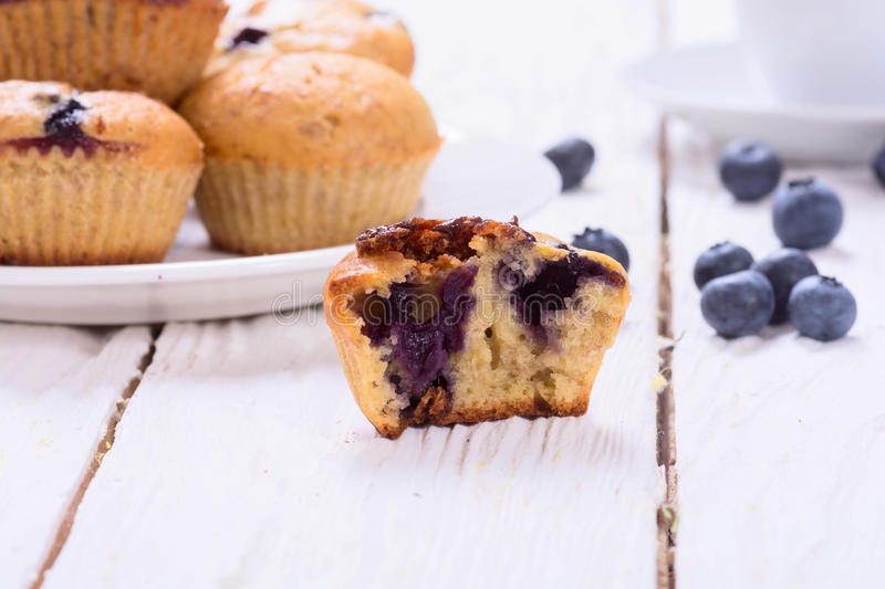 Banana muffins with blueberry stock photos