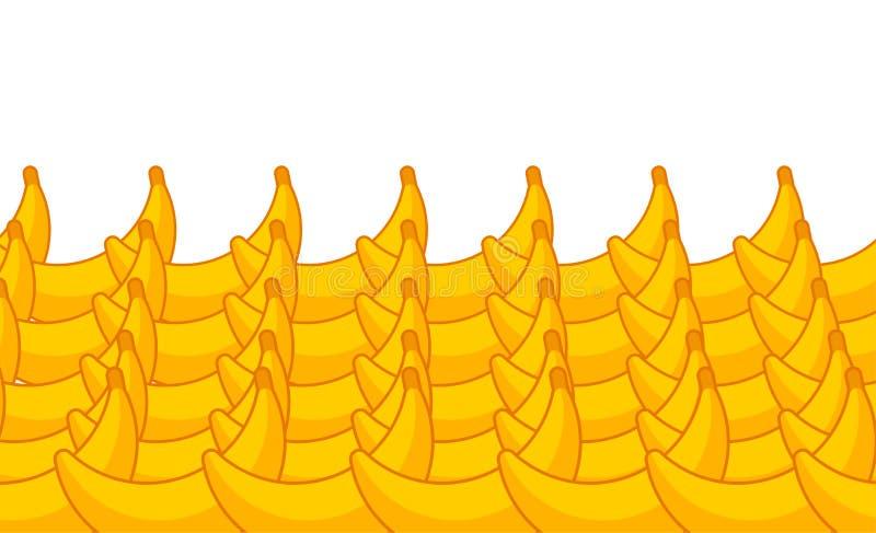 Banana no contador Bananas na mostra do mercado Fundo da fruta Vetor do estilo dos desenhos animados ilustração do vetor