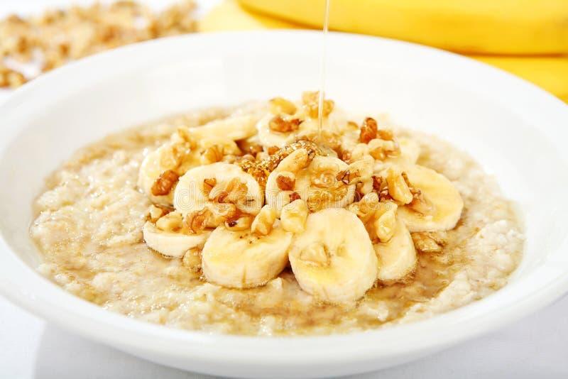 Banana Nut Oatmeal with Honey stock photos