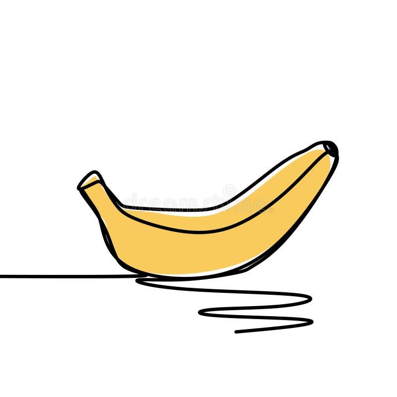Banana one continuous line art drawing vector illustration minimalist design stock illustration