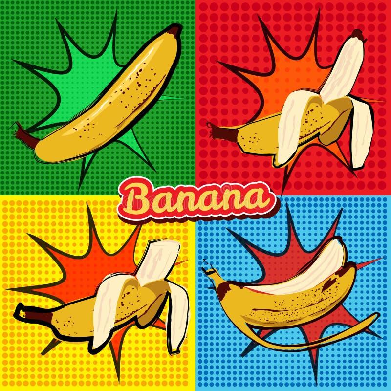 Free Banana Opened Banana Bitten Banana Peel Banana Pop Art Vector Illustration, Isolated Royalty Free Stock Images - 111435779