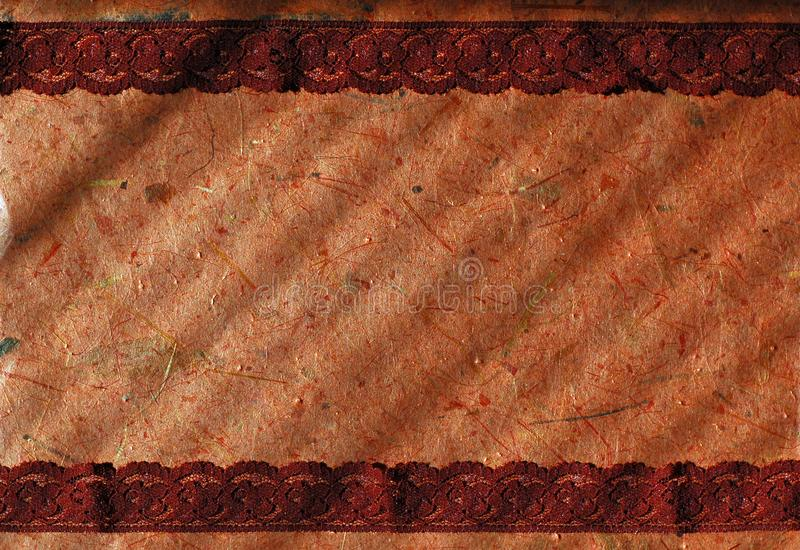 Banana paper and lace background royalty free stock photos
