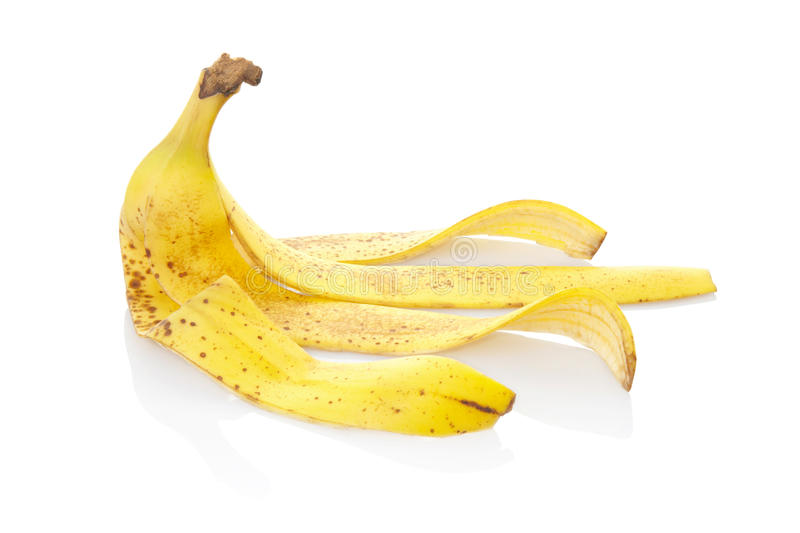 Banana peel. Isolated on white, clipping path included royalty free stock image