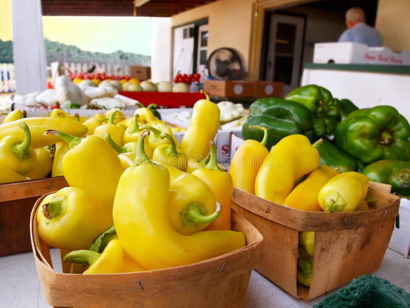 Banana Peppers In Market Baskets stock photography