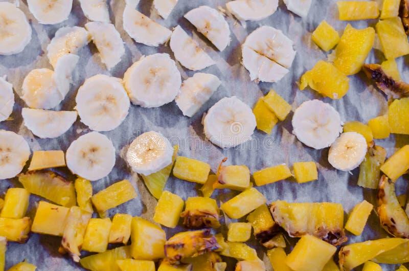 Banana & pineapple. Drying banana and pineapple fruit royalty free stock photography