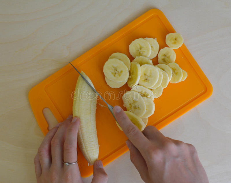 Banana placed on a table. poto composition royalty free stock images