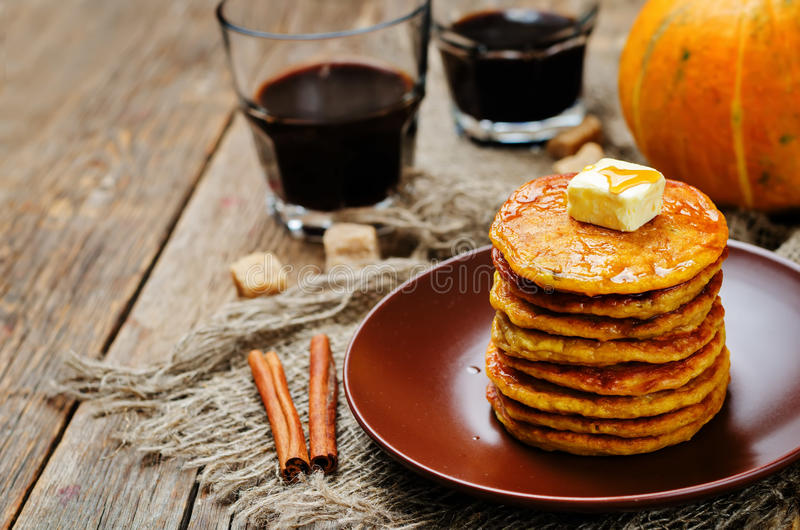 Banana Pumpkin Pancake with butter and maple syrup stock photo