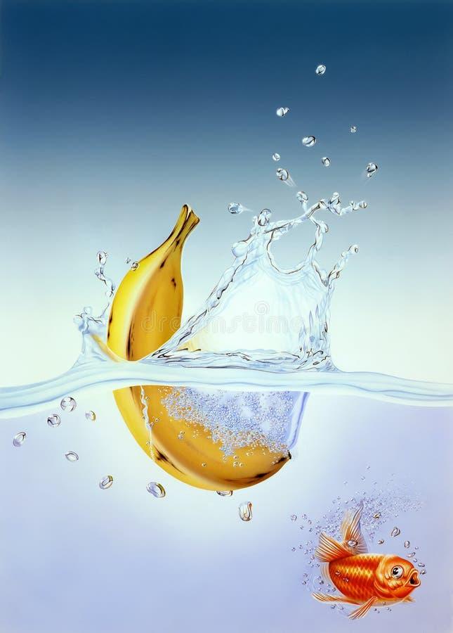 Banana que espirra na água com os peixes do ouro scared ilustração stock