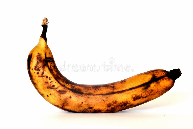 Banana. Rotten banana isolated on a white background stock photos