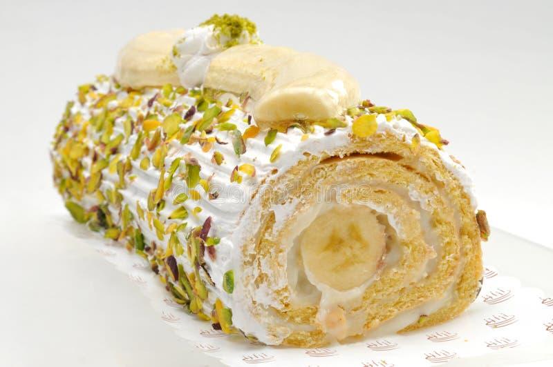 Banana roulade, cake royalty free stock photos