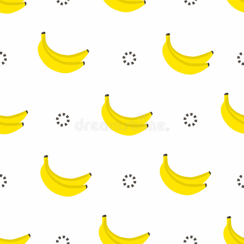 Banana seamless pattern. Bananas with circles in 80s style, textile graphic. Vector royalty free illustration