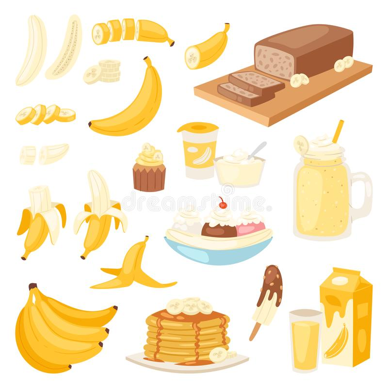 Banana set vector bananas products bread pancake or banana split with yellow cocktail and fruit in chocolate royalty free illustration