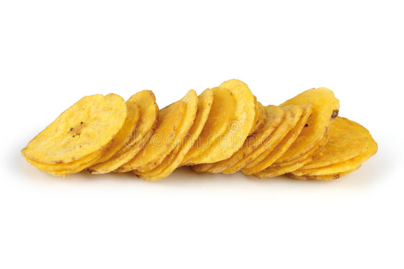Banana. Several banana chips isolated on white background stock images