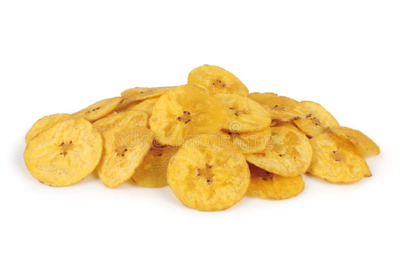Banana. Several banana chips isolated on white background royalty free stock photography