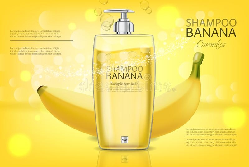 Banana shampoo Vector realistic mock up. Yellow bottle cosmetics. Product placement label design. Detailed 3d stock illustration