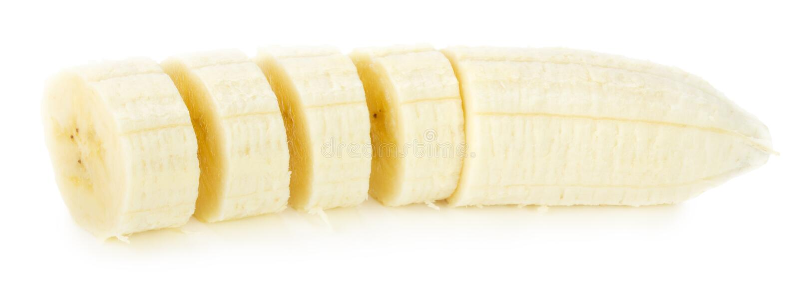 Banana slices isolated on a white background royalty free stock photography