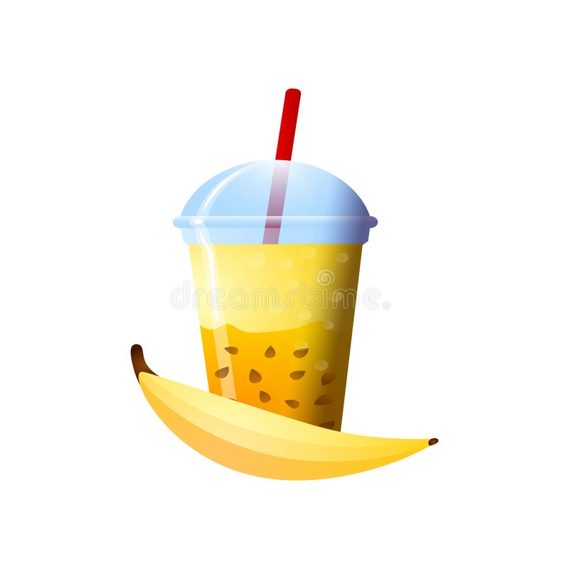 Banana smoothie in a cup. Superfoods and health or detox diet food concept in sketch style. Vector illustration of different food products on white stock illustration