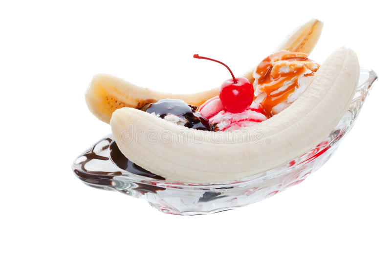 Banana split. Ice cream studio isolated on a white background stock photos