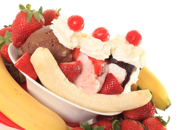 Banana split. Ice cream banana split sundae stock photography