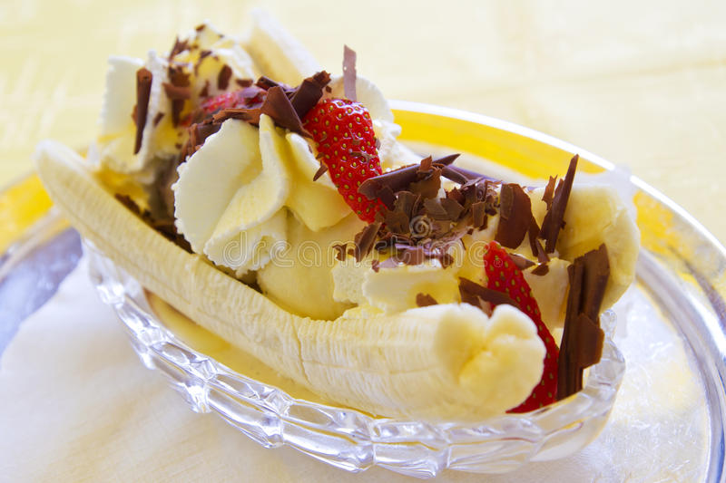 Banana split. On a plate stock images