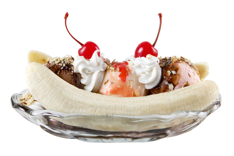 Banana split. Isolated on white royalty free stock photo
