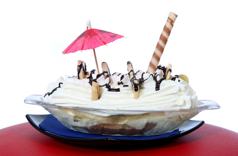Banana split. With the red umbrella stock photo