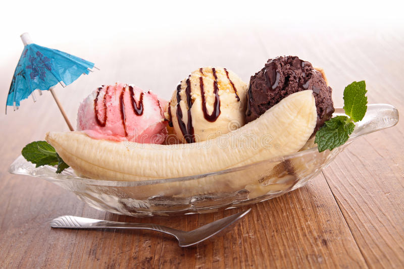 Banana split. Close up on banana split stock photography