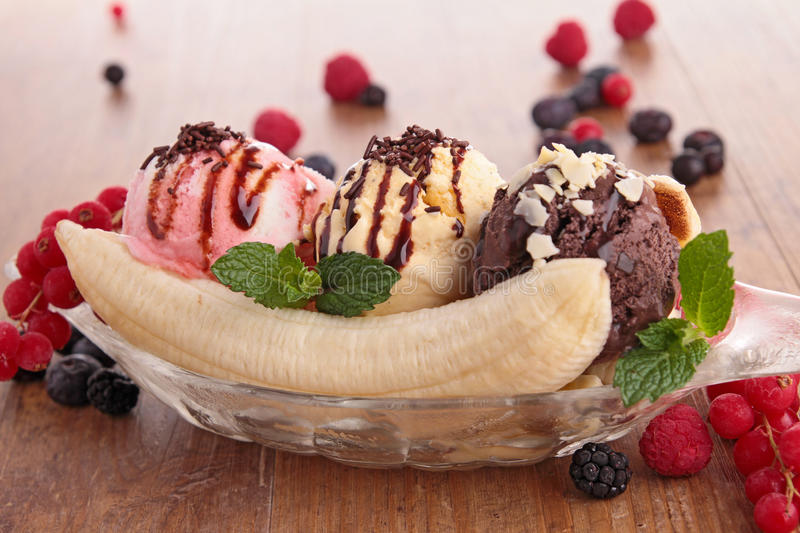 Banana split. Close up on banana split stock photos