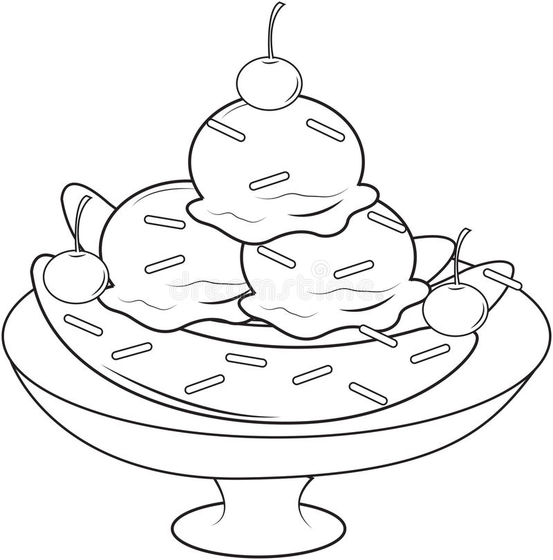 Banana split coloring page stock illustration. Illustration of ...