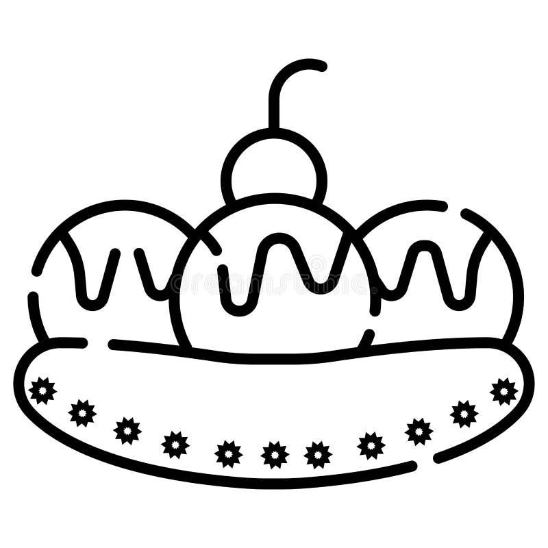Banana split, Creme, Banane, Schokolade, Eiscreme vektor abbildung